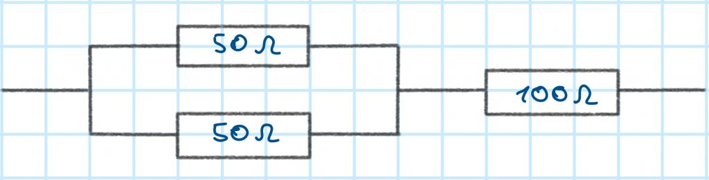 Widerstände in einer Kombination aus einer Reihen- und einer Parallelschaltung
